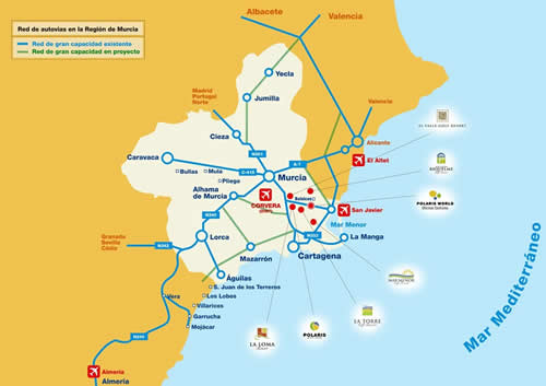 Map showing all the Polaris World Resorts in Spain